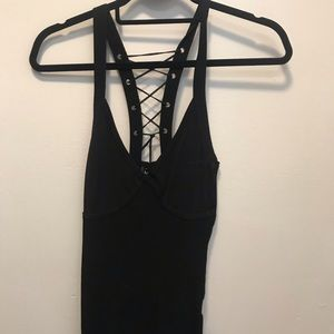 Bebe black sweater lace up sexy tank